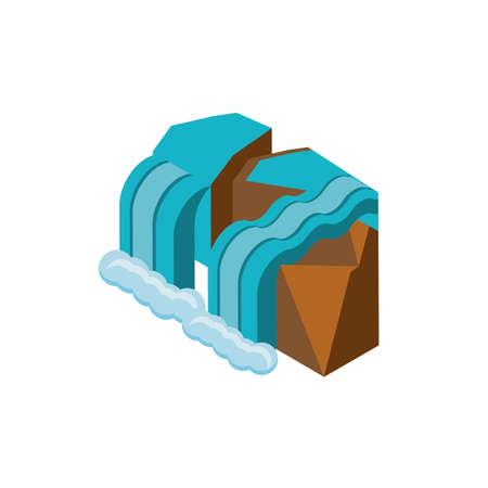 mountain with waterfall on white background vector illustration design Ilustração