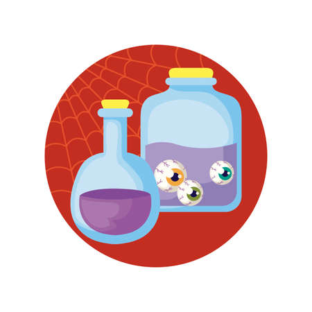 jar with eyes scary with icons in scene halloween vector illustration design Ilustração