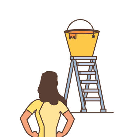 worker woman with stair and bucket of paint vector illustration design