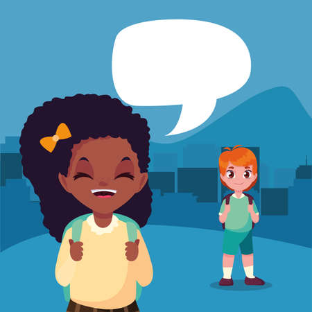 student boy and girl talking back to school vector illustration