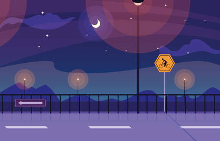 night landscape nature with signage for cyclist vector illustration design