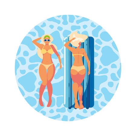 beautiful girls with float mattress floating in water vector illustration design