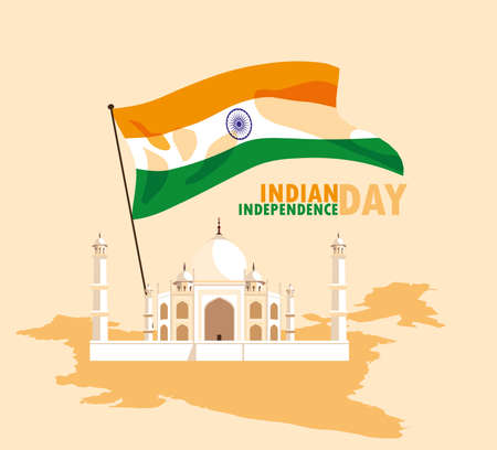 indian independence day poster with flag and taj majal mosque vector illustration design