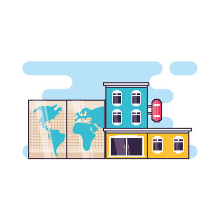 hotel building place with paper map vector illustration design
