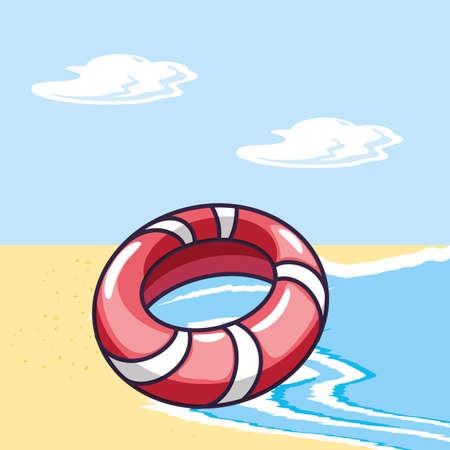 float protection in beach summer scene vector illustration design