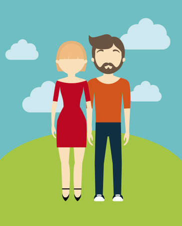 young couple in landscape avatar character vector illustration design