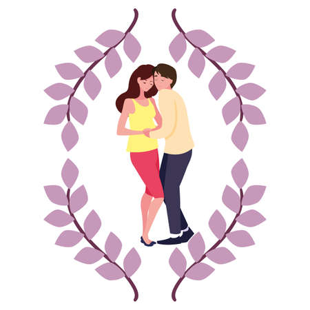 man hugs a pregnant woman - pregnancy and maternity vector illustration
