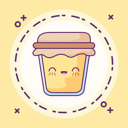 delicious bottle of honey kawaii style vector illustration design