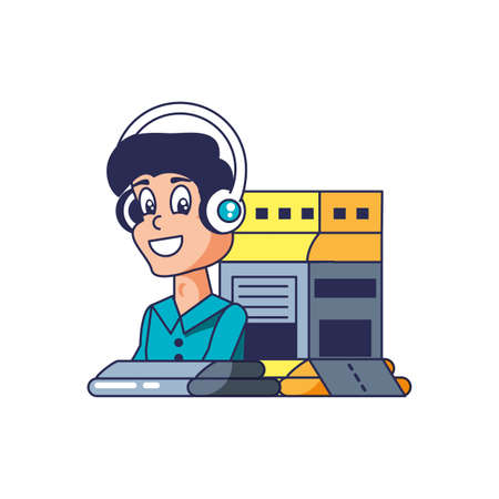customer service agent with headset and warehouse building vector illustration design