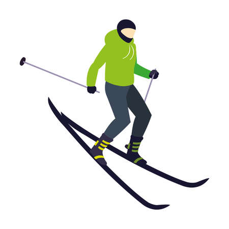 man skiing extreme sport and lifestyle vector illustration