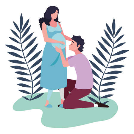Pregnant woman and man design, Couple family love pregnancy maternity and expecting theme Vector illustration