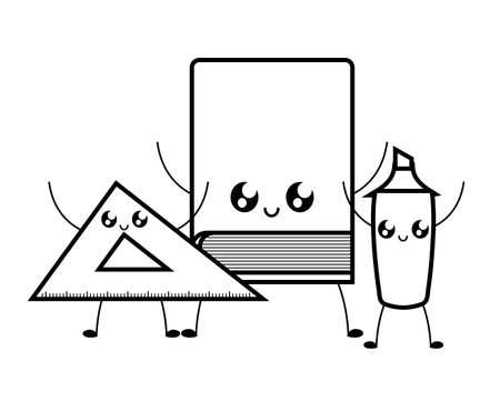 library book with rule and highlighter kawaii style vector illustration design Vektoros illusztráció
