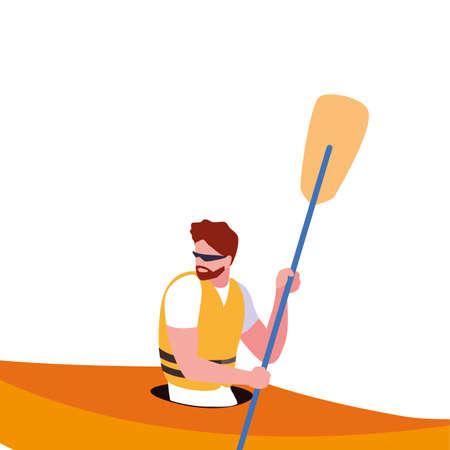 man paddling kayak extreme sport and lifestyle vector illustration