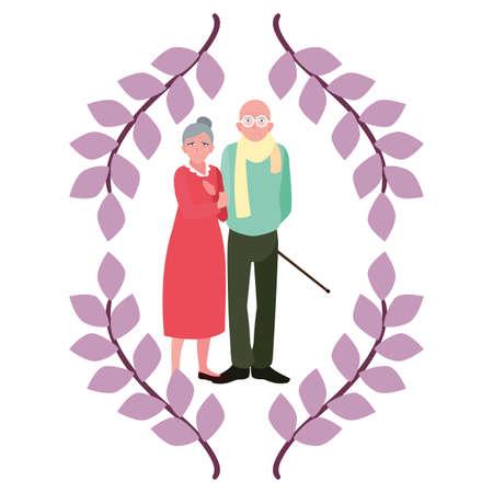 happy grandparents day - cute couple grandparents laurel foliage vector illustration