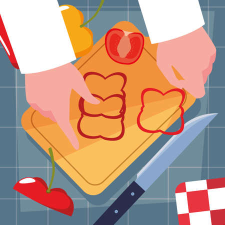 hands of chef with knife and kitchen board vector illustration design 向量圖像