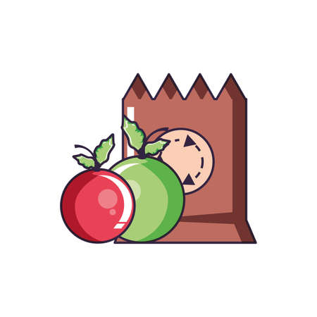 paper bag eco friendly with cherries vector illustration design