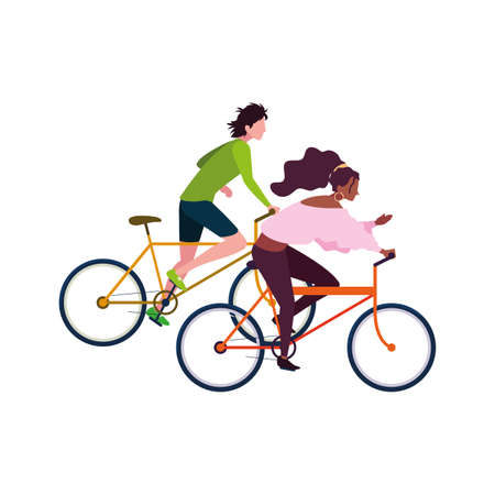 man and woman riding bicycle activity image vector illustration