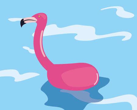 flamingo float ocean summer time vacation flat design