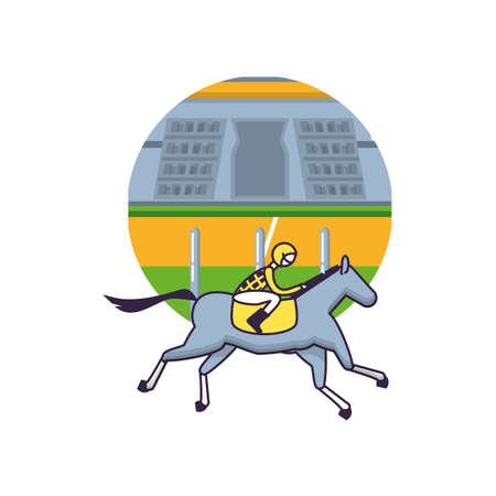 horse with jockey racecourse icon vector illustration design