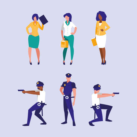 Set of businesswomen and policemen design, Workers actions working occupation jobs proffesional employee service and labor theme Vector illustration