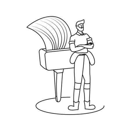builder constructor worker with paint brush ector illustration design