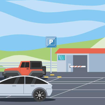 parking zone with ticket machine and barricade scene vector illustration design Векторная Иллюстрация