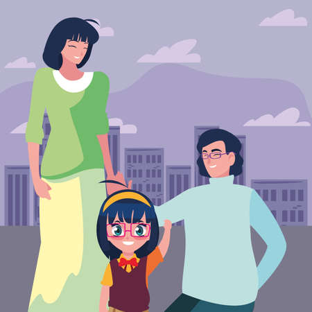 parents with her daughter student back to school vector illustration