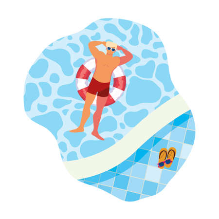 young man with swimsuit and float lifeguard in pool vector illustration design