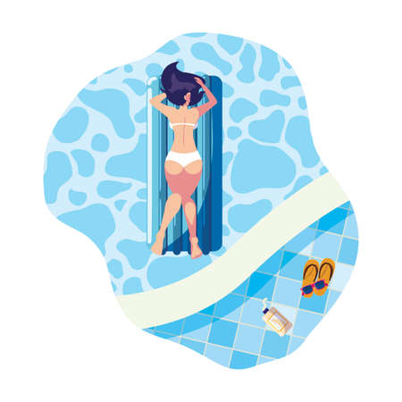woman tanning in float mattress floating in pool vector illustration design