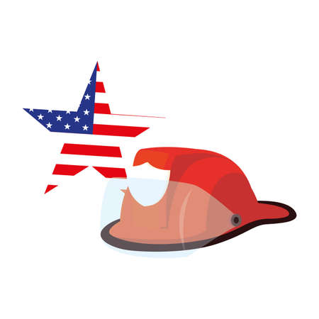 american flag star with helmet of firefighter happy labor day vector illustration