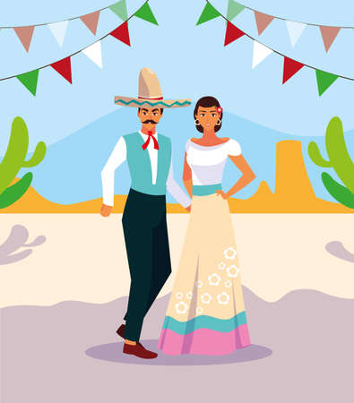 couple of people with typical Mexican costumes vector illustration design
