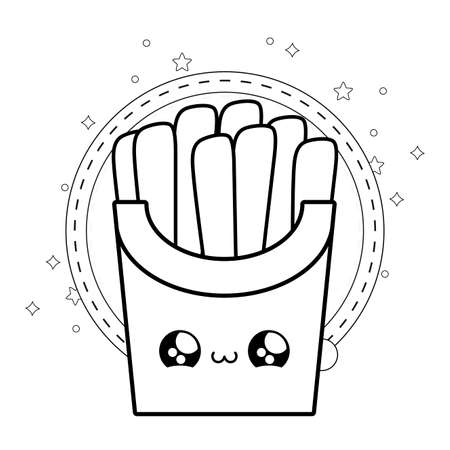 fresh french fries with frame circular kawaii style vector illustration design