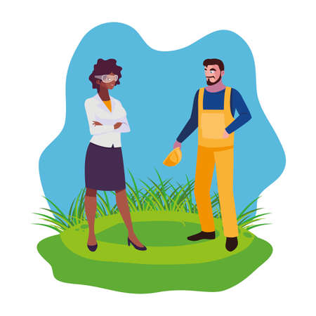 interracial couple builders workers on the lawn vector illustration design
