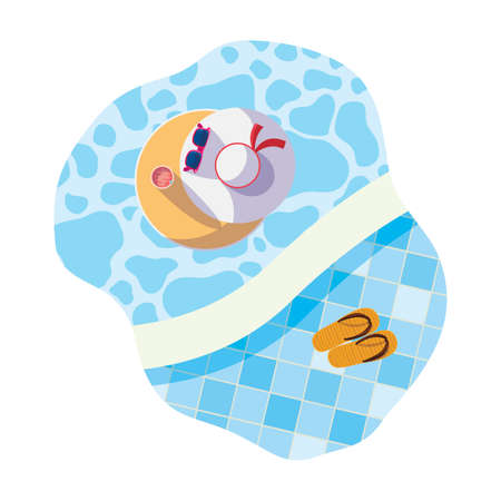 edge of pool with female hat and sunglasses scene vector illustration design