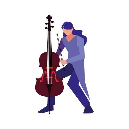 musician man cello playing music design vector illustration