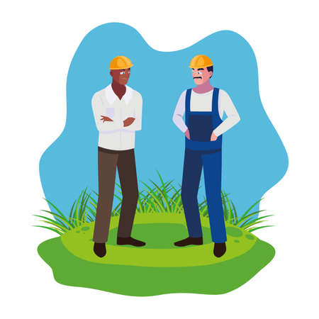 afro male builder constructor worker on the lawn vector illustration design