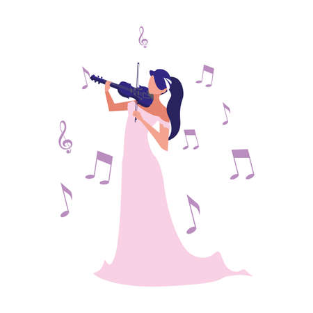 musician woman violin playing musical vector illustration