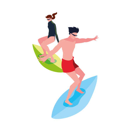 couple surfers extreme sport and lifestyle vector illustration