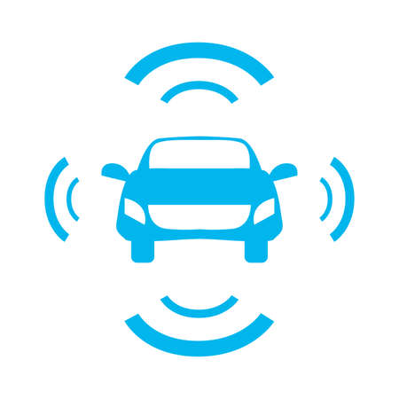 autonomous smart car sensor signal vector illustration design image