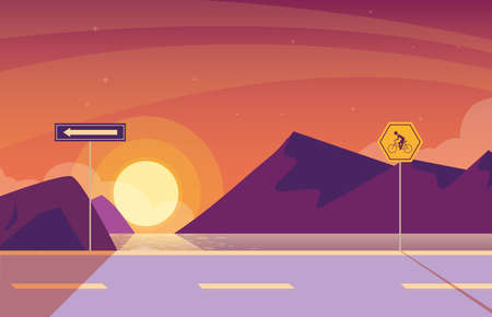 sunrise landscape nature with signage for cyclist vector illustration design