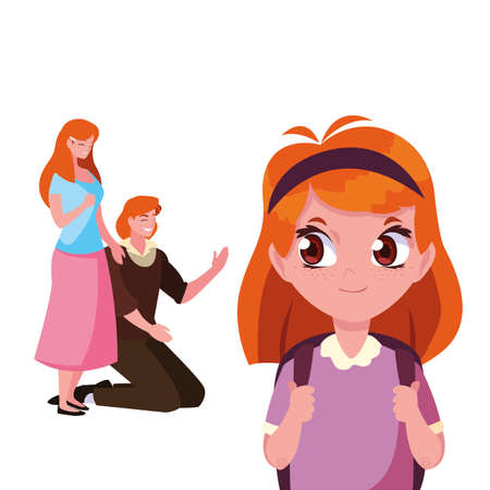 parents with school girl student vector illustration