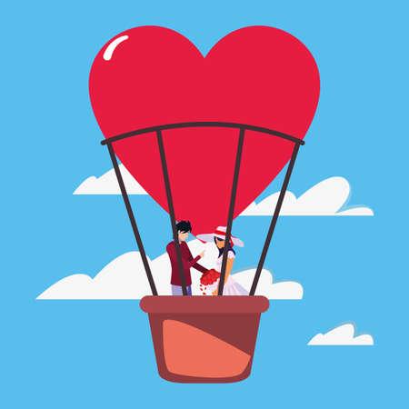 couple romance travel hot air balloon vector illustration Illusztráció