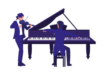 musician playing piano and man with violin design Иллюстрация