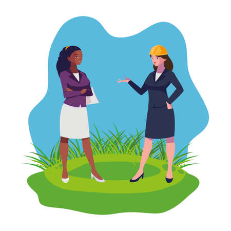 interracial female engineers workers characters on the lawn vector illustration
