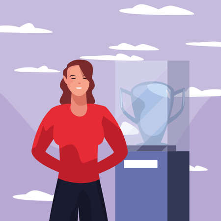 soccer player woman iwith trophy vector illustration design Ilustracja