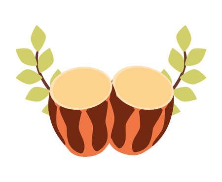 drum percussion musical badge ribbon vector illustration emblem