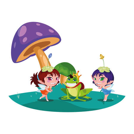 beautiful magic fairies with toad prince in the garden vector illustration design