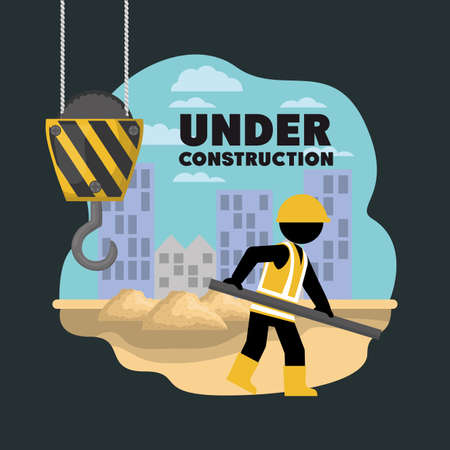 worker under construction place vector illustration desing