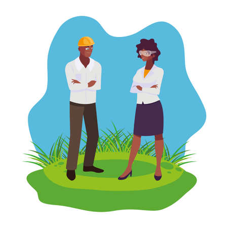 afro male builder with female engineer characters vector illustration design