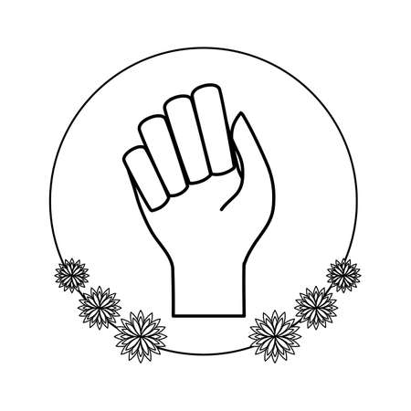 hand human fist in frame circular with flowers vector illustration design